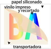 Composición vinilos impresos y recortados